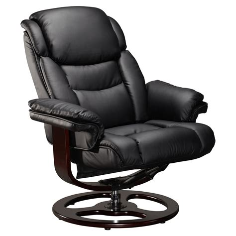 Vienna Real Leather Black Swivel Recliner Chair W Foot Black Swivel Chair