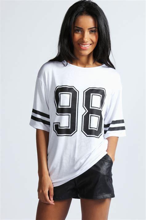 boohoo debbie number 98 print oversized top jersey ebay