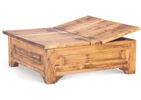 Coffee Table Square Pine Wood large square storage chest trunk wood box coffee table