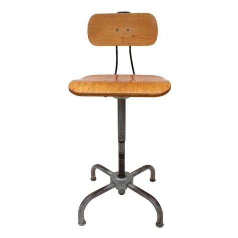 Artist Stool Adjustable by Vintage Industrial Ajustrite Adjustable Metal And Bentwood
