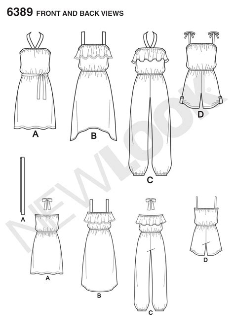 dress pattern draw new look 6389 girls easy jumpsuit romper and dresses
