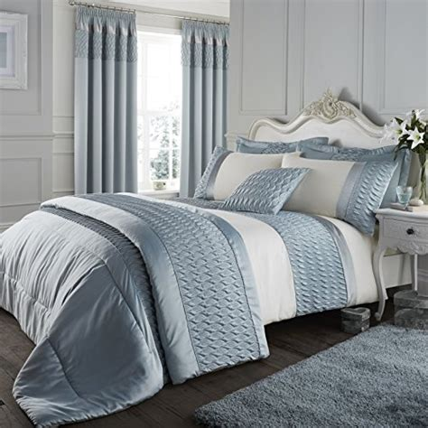 catherine lansfield signature quilted luxury satin duvet cover set duck egg king