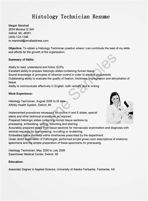 Histology Technician Cover Letter by Resume Sles Histology Technician Resume Sle