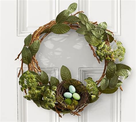 Door Wreaths Pottery Barn Rustic Easter Wreath With Nest Pottery Barn