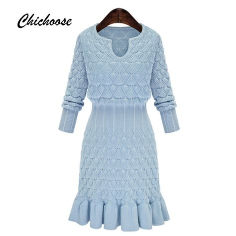 pattern for simple knit dress simple long sleeve women dress 2016 autumn winter dress