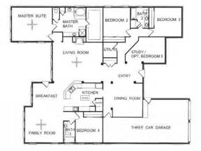 one story 4 bedroom house plans one story floor plans one story open floor house plans