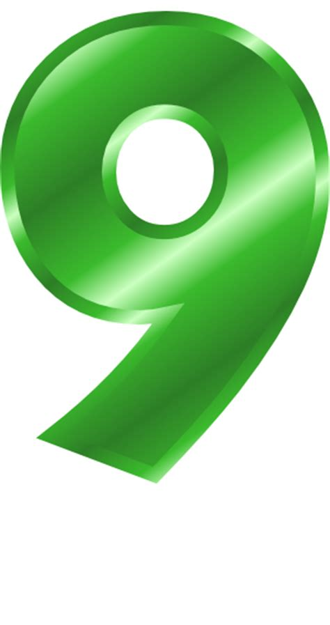 green metal number 9   /signs symbol/alphabets numbers