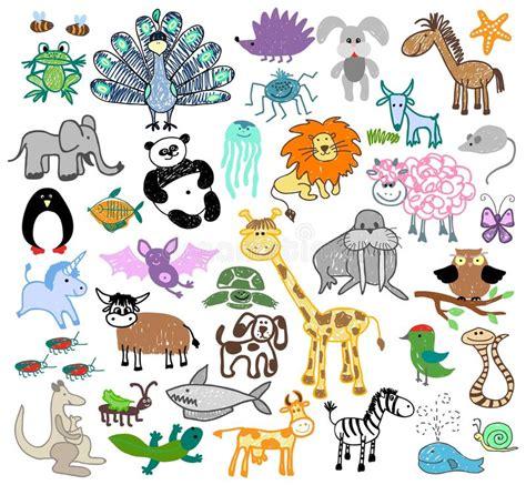 doodle animals vector free children drawing doodle animals stock vector