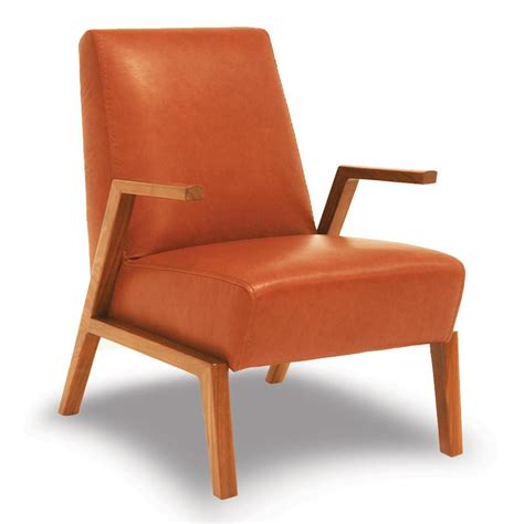 Handmade Leather Chairs - mid century tangerine handmade leather accent chair