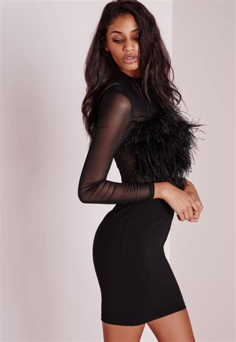 lyst missguided feather trim mesh sleeve bodycon dress