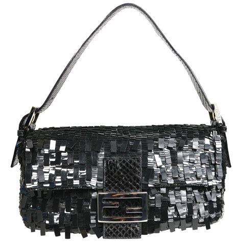 Fendi Classic by Fendi Classic Black Sequin Baguette Handbag For Sale At