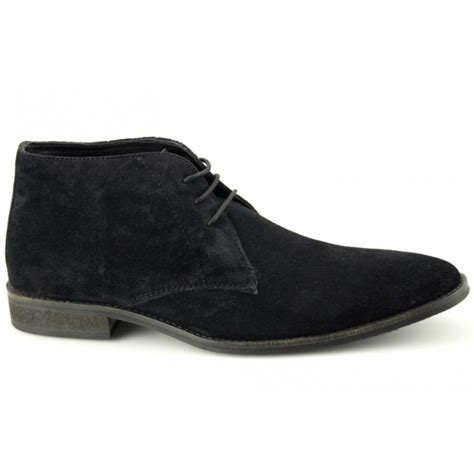 lucini dunn mens plain suede lace up chukka boots black