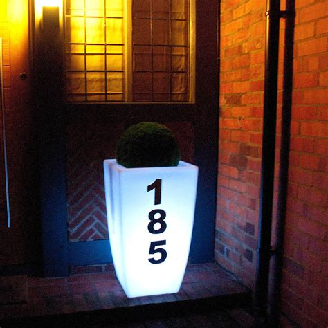 outdoor house numbers outdoor planter with house number light by jusi colour notonthehighstreet com