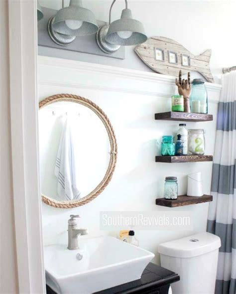 Nautical Bathrooms Decorating Ideas by Small Nautical Bathroom Makeover With Tons Of Diy Ideas