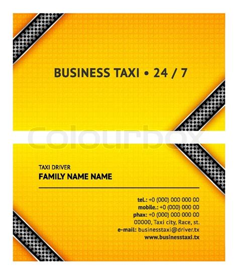 cab driver business card template business card taxi stock vector colourbox