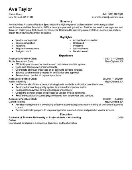 accounts receivable specialist resume accounts payable specialist