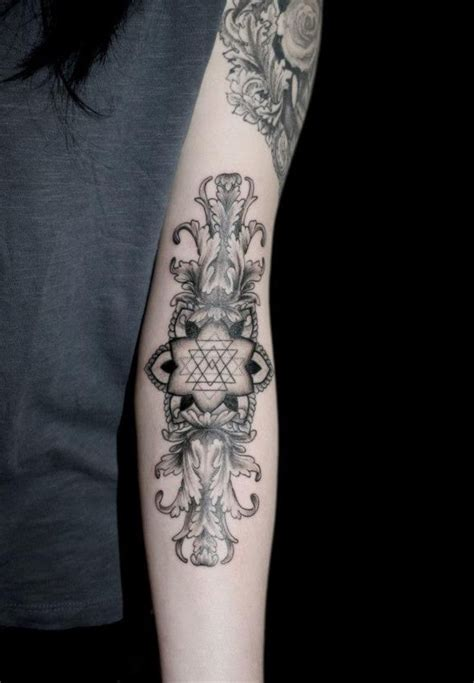 inner arm tattoos geometric floral arm forearm tattoos