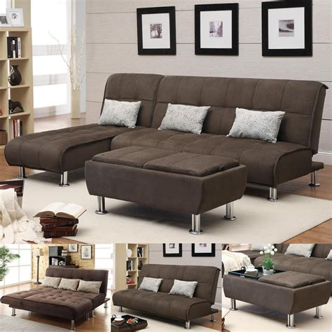 Ottoman Bed Sleeper by Brown Microfiber 3 Pc Sectional Sofa Futon Chaise