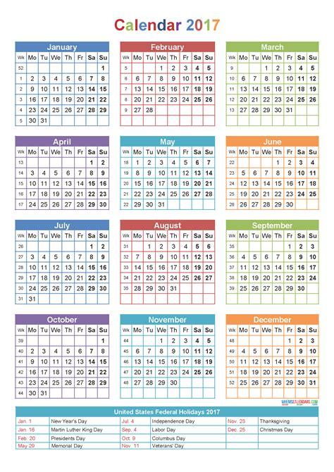 blank yearly calendar 2017 printable