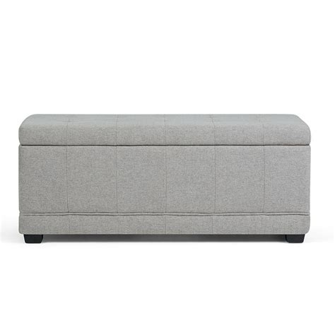 grey ottoman bench simpli home westchester cloud grey storage ottoman bench
