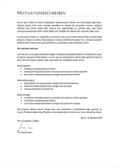 motivationsschreiben f 252 r ein motivationsschreiben stipendium muster