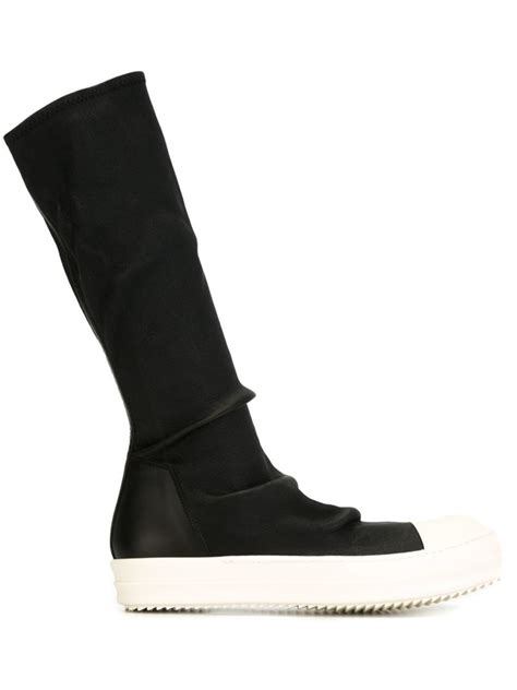 sock top boots rick owens sock high top boots in black lyst