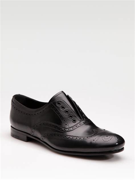 prada oxford shoes womens prada laceless oxfords in black lyst