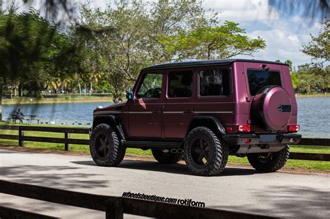 lifted mercedes lifted purple eater g63 amg on rotiform pnt