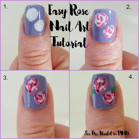 easy nail art roses manicure monday easy rose nail art tutorial see the