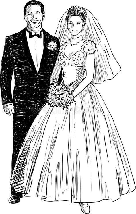 Newlyweds stock vector. Illustration of drawn, husband