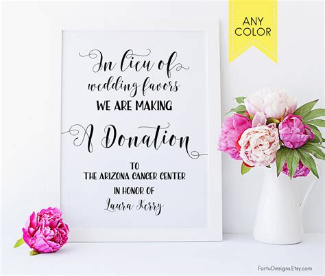 Wedding Favors Donation To Charity by In Lieu Of Favors Sign Wedding Donation Sign Donation Favor