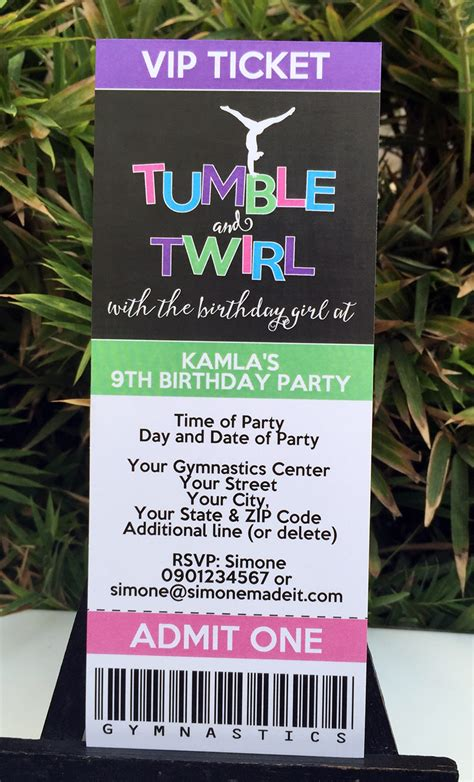 Sends Out Invites For Bday Bash gymnastics birthday theme printables diy templates
