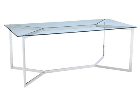 Glass Steel Dining Table Shefford Stainless Steel And Glass Dining Table