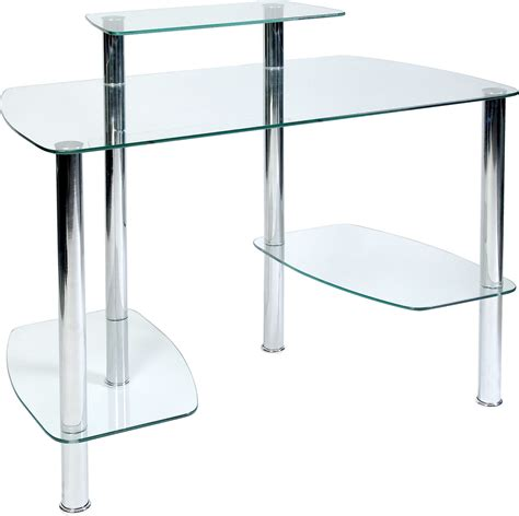 Computer In Glass Desk Glacier Glass Computer Desk Glass Workstation For Home Or Office