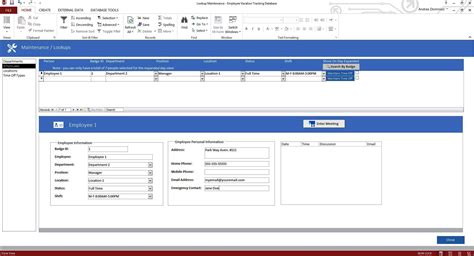 ms access employee database template enhanced microsoft access employee vacation tracking