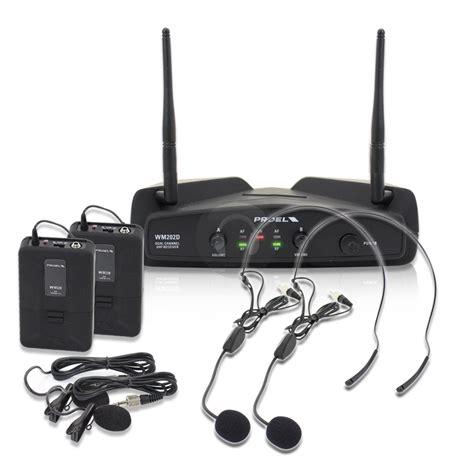 Diskon Mic Wireless Proel Wm202h Uhf Single Headset Wireless skytec 8 quot active powered portable pa speaker wireless headset mic system 80w ebay
