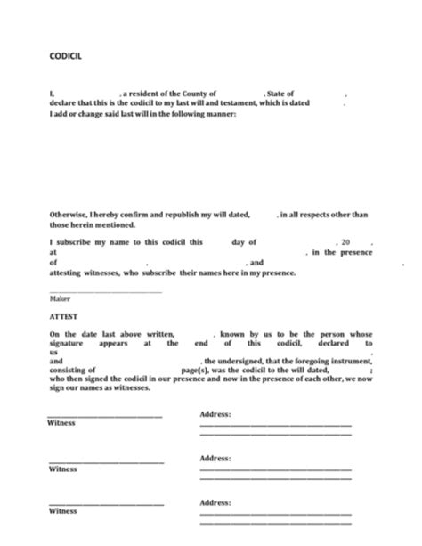 codicil template free codicil to a will legalforms org