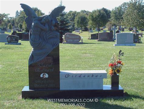 bench headstones gravestones girdaukas angel carving bench headstone in granite