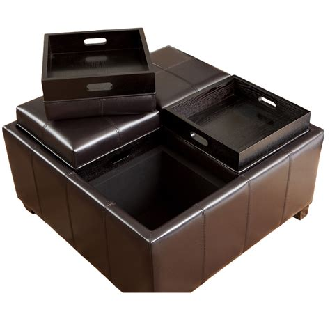 leather tray top storage ottoman best selling home decor mason leather espresso tray top