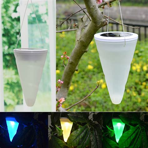 hanging solar lights for trees solar power garden lights outdoor cornet cone led l