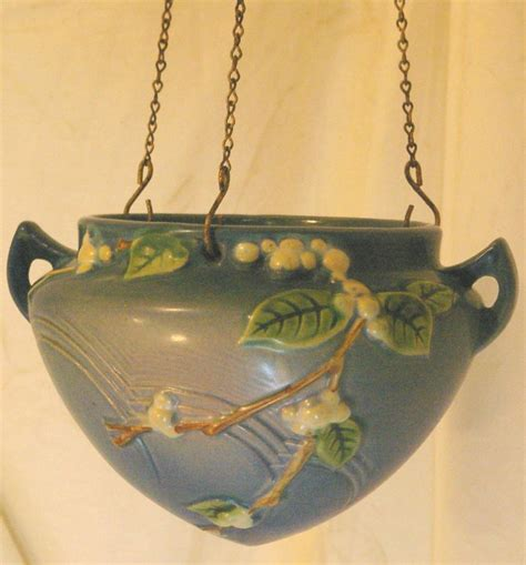 Roseville Hanging Planter by Roseville Snowberry Blue Hanging Planter Or Basket From