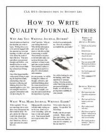 how to write quality journal entries pdfsr