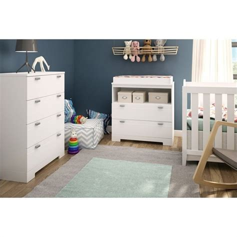 South Shore White Changing Table South Shore Reevo Changing Table With Storage In White 3840330
