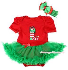 Xmas baby girl red bodysuit christmas socks kelly green skirt jumpsuit