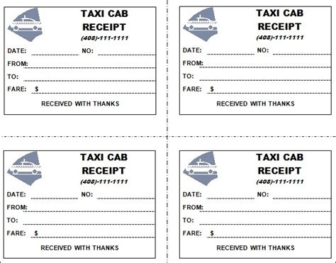 taxi receipt blank template 7 taxi receipt templates word excel pdf formats