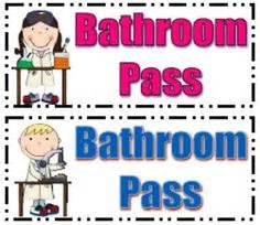 Kids editable chevron bathroom hall and office passes bathroom