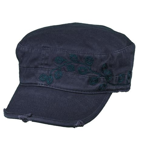 womens garment washed cotton embroidered cadet hat by