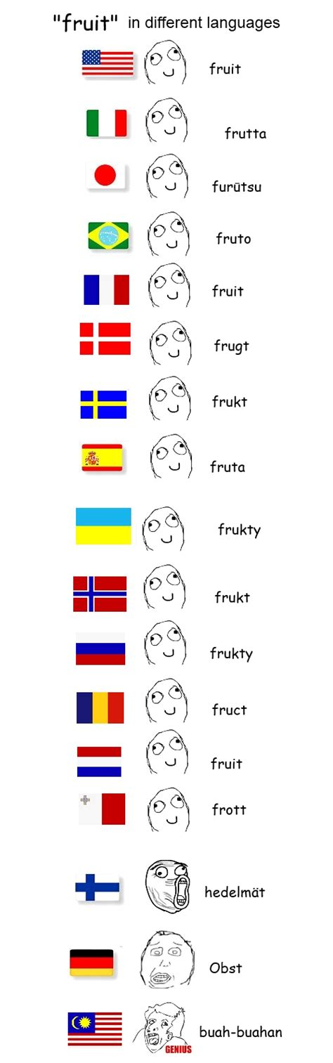 Meme Language - fruit in different languages meme by myakki on deviantart