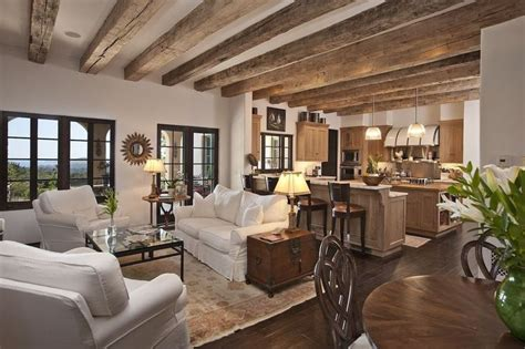 built  bookshelvescabinets cottage exposed beams