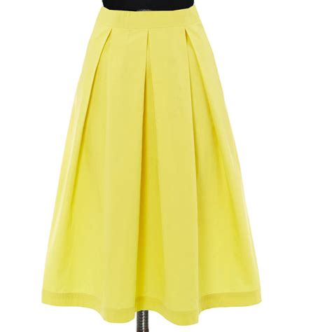 yellow box pleat skirt custom fit handmade fully lined